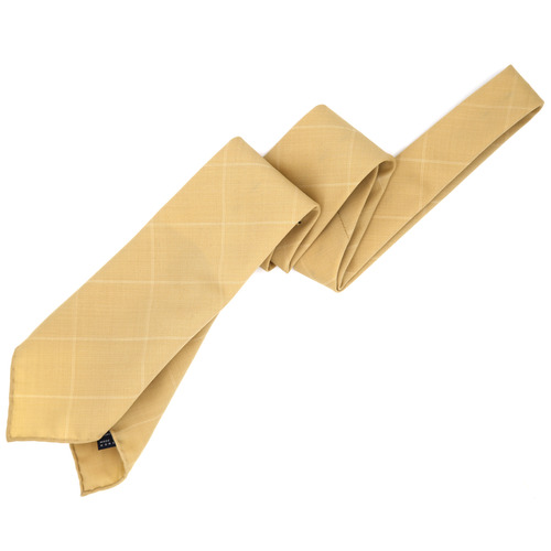Beige Windowpane Wool Necktie