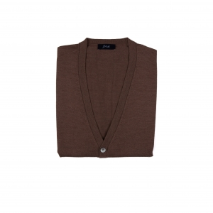 Cashmere Blended Knitting Vest Cardigan_Brown