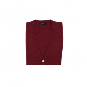 Cashmere Blended Knitting Vest Cardigan_Burgundy