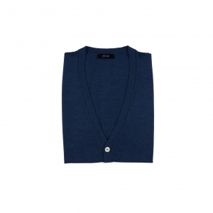 Cashmere Blended Knitting Vest Cardigan_Blue