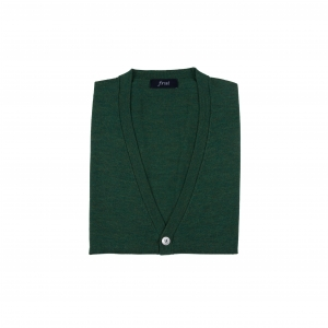 Cashmere Blended Knitting Vest Cardigan_Green