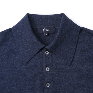 Extrafine Merino Wool Collar Knit_Navyblue