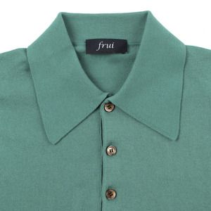 Supimacotton Shortsleeves Collar Knit_Emerald Blue