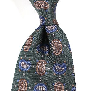 Small Paisley Silk Necktie_Green