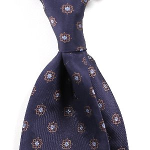 Classical Pattern Silk Necktie_Navy&Brown