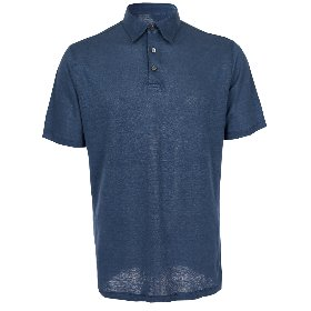 PURE LINEN KNITTED COLLAR T-SHIRTS_DARK BAHAMA BLUE