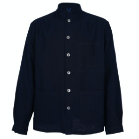 HERRINGBONE LINEN COMFORTABLE JACKET_NAVY