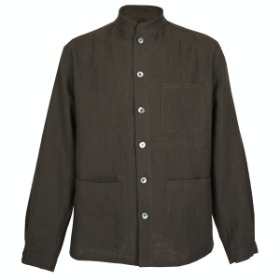HERRINGBONE LINEN COMFORTABLE JACKET_OLIVE GRAY