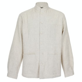 HERRINGBONE LINEN COMFORTABLE JACKET_OATMEAL