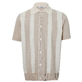 VERTICAL PATTERN SHORTSLEEVES CARDIGAN_LIGHT NEUTRAL