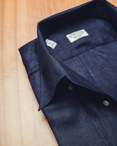 Open-Collar ; Darknavy Linen