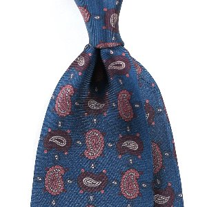 Small Paisley Silk Necktie_Prussian Blue