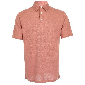 PURE LINEN KNITTED COLLAR T-SHIRTS_LIGHT INDIAN RED